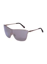 Chopard Full Rim Shield Gold Sunglasses for Women, Mirrored Silver Lens, SCHC20S, 99/0/135