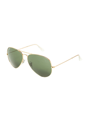 Ray-Ban Full-Rim Aviator Gold Unisex Sunglasses, Green Lens, RB3025, 62/14/140