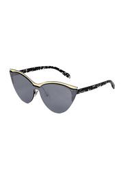Karl Lagerfeld Half-Rim Cat Eye Silver Sunglasses for Women, Mirrored Grey Lens, KL314S, 64/20/140
