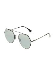 Fendi Full-Rim Geometric Black Sunglasses for Women, Mirrored Grey Lens, FF0194/S, 55/19/140