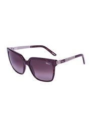 Chopard Full Rim Square Purple Sunglasses for Women, Brown Lens, SCH208S, 56/18/140