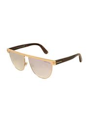 Tom Ford Full-Rim Aviator Gold Sunglasses for Women, Mirrored Pink Lens, TF570, 60/13/140