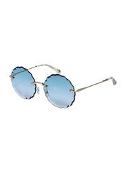 Chloe Rimless Round Gold Sunglasses for Women, Blue Lens, CE142S, 60/17/140