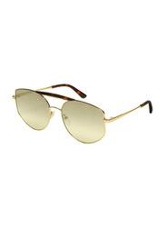 Karl Lagerfeld Full-Rim Oval Gold Sunglasses for Women, Mirrored Grey Lens, KL321S, 57/17/135