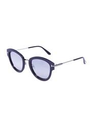 Tom Ford Full-Rim Oval Shiny Light Ruthenium Black Sunglasses for Women, Mirrored Silver Lens, TF574, 52/22/140