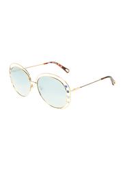 Chloe Full-Rim Round Gold Sunglasses for Women, Mirrored Blue Lens, CE169S, 57/16/140