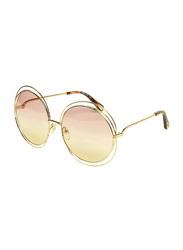 Chloe Full-Rim Round Gold Sunglasses for Women, Pink Lens, CE114S, 62/18/135