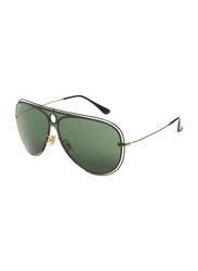 Ray-Ban Full-Rim Shield Gold Unisex Sunglasses, Black Lens, RB3605, 32/20/140
