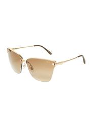 Chopard Half-Rim Cat Eye Gold Sunglasses for Women, Brown Lens, SCHC19S, 65/13/135