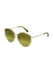 Salvatore Ferragamo Full-Rim Oval Gold Sunglasses for Women, Green Lens, SF2646S, 60/15/140