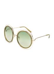 Chloe Full-Rim Round Gold Sunglasses for Women, Green Lens, CE120S, 58/23/135