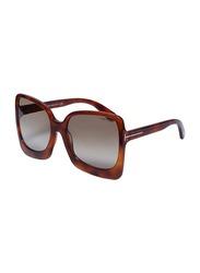 Tom Ford Full-Rim Oversized Havana Sunglasses for Women, Brown Lens, TF618, 60/19/135