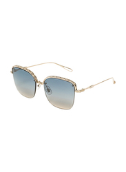 Chopard Half-Rim Square Silver Sunglasses for Women, Blue Lens, SCHD45S, 57/18/135