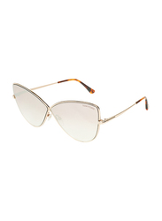 Tom Ford Full-Rim Cat Eye Gold Sunglasses for Women, Mirrored Brown Lens, TF569, 65/5/140