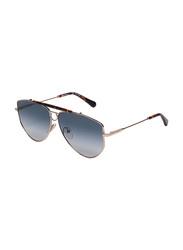 Salvatore Ferragamo Full-Rim Oval Gold Sunglasses for Women, Blue Lens, SF241S, 61/11/140