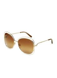 Chloe Full-Rim Butterfly Gold Sunglasses for Women, Brown Lens, CE119S, 60/18/135