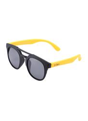 Atom Kids Polarized Full Rim Round Sunglasses for Boys, Grey Lens, K112-6, 3-10 Years, Black/Yellow