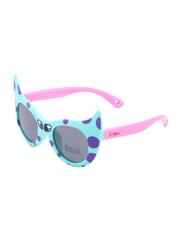 Atom Kids Polarized Full Rim Cat Eye Sunglasses for Girls, Grey Lens, K101-2, 3-10 Years, Green/Pink