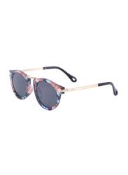 Atom Kids Polarized Full Rim Round Sunglasses for Girls, Grey Lens, K119-6, 3-10 Years, Multicolour