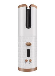 EzzySo Rechargeable Mini Wireless Automatic Hair Curler, White/Brown