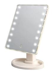 LED Light Countertop Vanity Makeup Mirror, 17cm, White