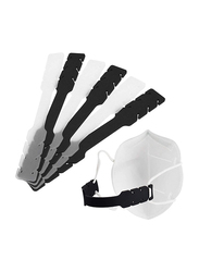 Starthi Silicone Adjustable Mask Cord Extension Ear Strap Buckle, 6 Pieces, Black/ White