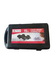 Pro Action Adjustable Cast Iron Spinlock Dumbbell Set, 2 x 15KG, Silver/Black