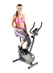 Marcy Magnetic Resistance Upright Exercise Bike with Eight Preset Resistance Levels for Cardio Workout, Black/Grey