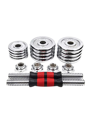 Muxiang Adjustable Cast Iron Weight Dumbbells Barbell Set for Men, 2 x 15KG, Silver