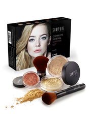 Sampure Minerals Complete Mineral Starter Face Makeup Set, 5-Pieces, 16gm, Fair, Multicolour
