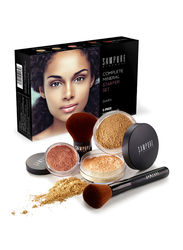 Sampure Minerals Complete Mineral Starter Face Makeup Set, 5-Pieces, 16gm, Dark, Multicolour