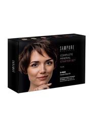 Sampure Minerals Complete Mineral Starter Face Makeup Set, 5-Pieces, 16gm, Tan, Multicolour