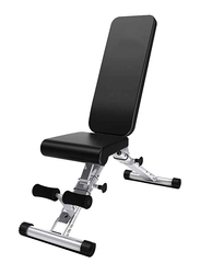 Adjustable Benches Fitness Chair Sports Bench, 125 x 45 x 48cm, Black/Silver