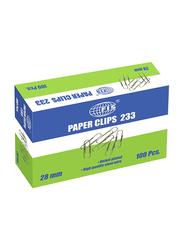 FIS U Shape Paper Clips, 100 Pieces, 28mm, Multicolour