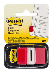 3M Post-It Tape Flags, 1 x 1.7 inch, 50 Pieces, Red