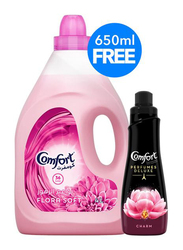 Comfort Flora Soft Fabric Softener, with 650ml Perfume Deluxe Charm, 4 Liter