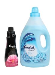 Comfort Spring Dew Liquid Fabric Conditioner, with 650ml Comfort Perfume Deluxe Charm, 4 Liter