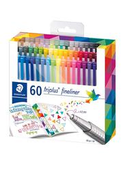 Staedtler 60-Piece Triplus Fineliner Brilliant Colors Pen Set, 0.3mm, Multicolour