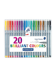 Staedtler Triplus Fineliner Tips Desktop Box Colour Pen Set, 0.3mm, 20 Piece, Multicolour