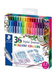 Staedtler Triplus Fineliner Superfine Colored Pen Set, 0.3mm, 36 Pieces, Multicolour