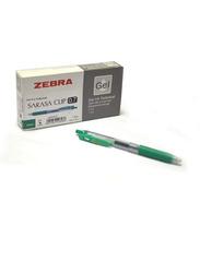 Zebra 12-Piece Sarasa Clip Gel Ink Rollerball Pen, 0.7mm, Green