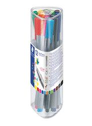 Staedtler Triplus Fineliner Colored Pen Set, 12 Pieces, Chrome