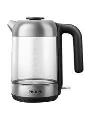 Philips Series 5000 Electric Glass Kettle, 1850-2200W, 1.7 Liters, HD9339, Silver/Black