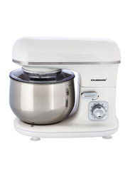 Olsenmark 4-in-1 Stand Mixer with Stainless Steel Bowl, 1100W, OMSM2347, White/Silver