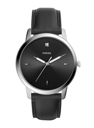 Fossil The Minimalist 3H Analog Watch for Men with Leather Band, Water Resistant, FS5497, Black