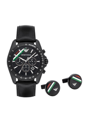Emporio Armani Analog Watch for Men with Leather Band, Water Resistant and Chronograph, AR8036, Black
