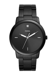 Fossil The Minimalist 3H Analog Watch for Men with Stainless Steel Band, Water Resistant, FS5455, Black