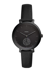 Fossil Jacqueline Analog Watch for Women with Leather Band, Water Resistant, ES4490, Black