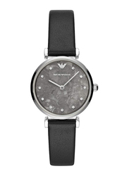 Emporio Armani Analog Quartz Watch for Women with Leather Band, Water Resistant, AR11171, Black-Marble Grey