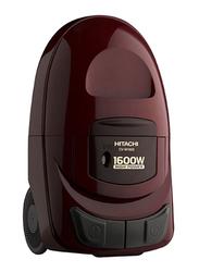 Hitachi 1600-Watt Canister Vacuum Cleaner, CV-W1600, Red